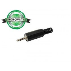 2.5mm MALE JACK CONNECTOR - PLASTIC BLACK STEREO