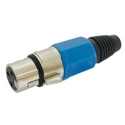 3P FEMALE XLR PLUG - NICKEL - BLUE