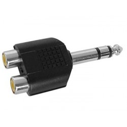 DUAL RCA FEMALE TO MALE 6.35mm STEREO JACK