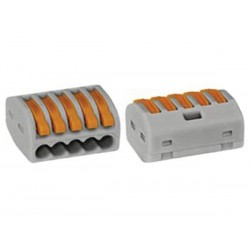 CONNECTOR 5 x 0.08-4mm FOR FLEXIBLE OR RIGID CONDUCTORS/GREY