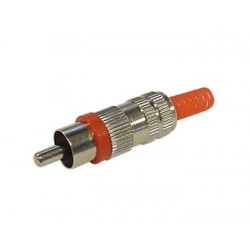 MALE RCA PLUG - NICKEL - RED