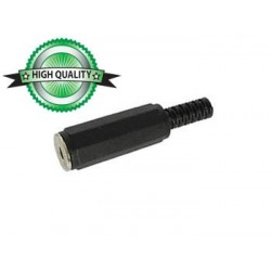 3.5mm FEMALE JACK CONNECTOR - BLACK PLASTIC STEREO