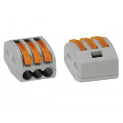 CONNECTOR 3 x 0.08-4mm FOR FLEXIBLE OR RIGID CONDUCTORS/GREY