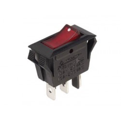 POWER ROCKER SWITCH 10A-250V SPST ON-OFF - WITH RED NEON LIGHT
