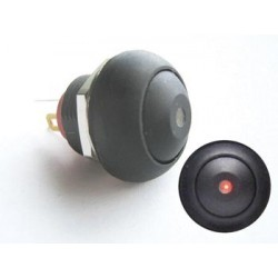 MINI PUSH BUTTON WITH RED LED 1P SPST OFF-(ON)