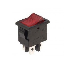 POWER ROCKER SWITCH 3A-250V SPST ON-OFF - WITH RED NEON LIGHT