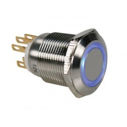 STAINLESS STEEL PUSH BUTTON SPDT 1NO 1NC - BLUE RING - 19mm