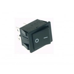 POWER ROCKER SWITCH 10A-250V DPST ON-OFF - BLACK I/O CAP