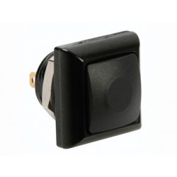MINI SQUARE METAL PUSH BUTTON WITH BLACK BUTTON 1P SPST OFF-(ON)