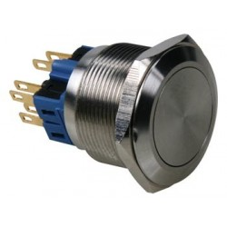FLAT STAINLESS STEEL PUSH BUTTON DPST 1NO 1NC