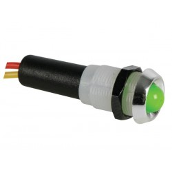 FLASHING LED LAMP 12V GREEN - CHROME HOUSING