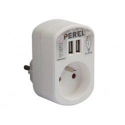 SINGLE POWER SOCKET WITH 2 USB PORTS, 3.15 A - WHITE