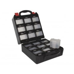 PLASTIC TOOL BOX WITH 18 CLIP-ON INSERTS FOR BELT