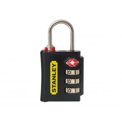 STANLEY - LUGGAGE PADLOCK - ZINC - 30 mm - 3 DIGITS - BLACK