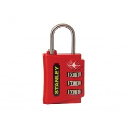 STANLEY - LUGGAGE PADLOCK - ZINC - 30 mm - 3 DIGITS - RED