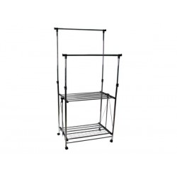 DOUBLE BAR CLOTHING RACK ON CASTERS