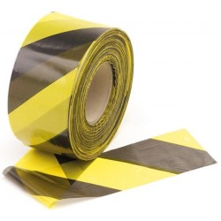 BLACK/YELLOW SAFETY TAPE - 500m