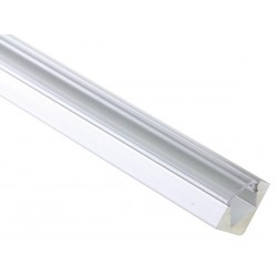 ALUMINIUM LED PROFILE FOR LED STRIPS  - 45° - 2M - CLEAR DIFFUSER