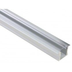 ALUMINIUM LED PROFILE FOR LED STRIPS  - 15MM BUILT-IN TYPE - 2M - CLEAR DIFFUSER