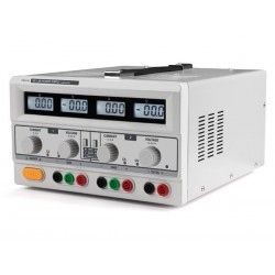 DUAL DC LAB POWER SUPPLY 2x 0-30 VDC / 0-3 A + 5 VDC fixed / 3 A MAX WITH 4 LCD DISPLAYS