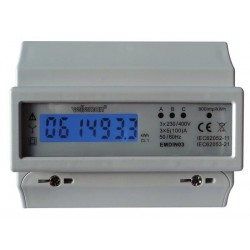 3 PHASE - 7 MODULE DIN-RAIL MOUNT kWh METER - FOR PROFESSIONAL USE