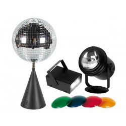 DISCO LIGHT KIT - PAR36 PIN SPOT, 4 COLOUR FILTERS, 20cm MIRROR BALL WITH MOTOR, STROBE 20W