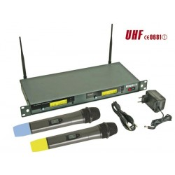 DUAL PLL WIRELESS 8-CHANNEL UHF MICROPHONE SYSTEM WITH LCD DISPLAY