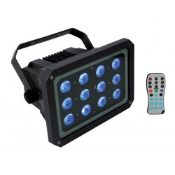 OUTDOOR LED FLOODLIGHT - 12 x 3W BRIGHT RGB LEDs - WITH REMOTE CONTROLLER