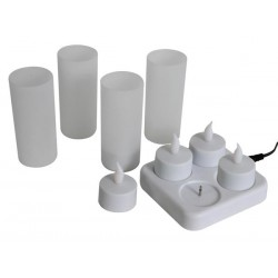 SET OF 4 RECHARGEABLE LED CANDLES