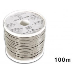 LOUDSPEAKER WIRE - GREY - BLACK STRIP - 2 x 0.75mm² - 100m