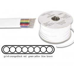 TELEPHONE CABLE 8 x 0.08mm WHITE FLAT