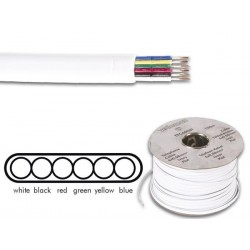TELEPHONE CABLE 6 x 0.08mm WHITE FLAT