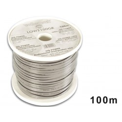 LOUDSPEAKER WIRE - GREY - BLACK STRIP - 2 x 1.00mm² - 100m
