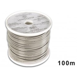 LOUDSPEAKER WIRE - GREY - BLACK STRIP - 2 x 1.50mm² - 100m