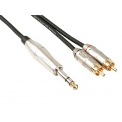 PROFESSIONAL AUDIO CABLE, 2 x RCA MALE TO 6.35mm STEREO JACK (6m)