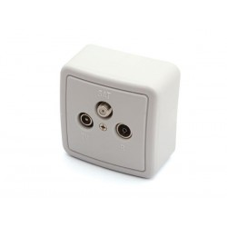 TV/FM/SAT SPLITTER, WITH COVER AND BOX FOR WALL MOUNTING - END TYPE