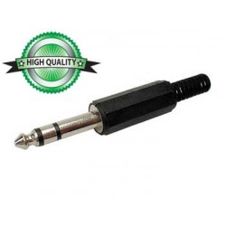 6.35mm MALE JACK CONNECTOR - PLASTIC BLACK STEREO